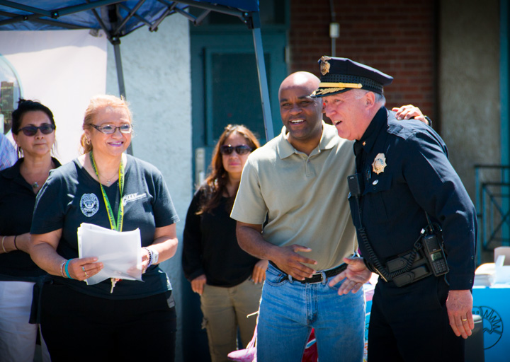 Denver's Mayor Michael Hancock, with Denver police Dept.